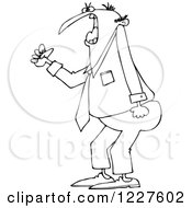 Clipart Of An Outlined Irate Business Man Waving A Fist Royalty Free Vector Illustration