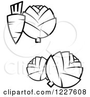 Clipart Of A Black And White Carrot Cabbage And Artichoke Royalty Free Vector Illustration by Vector Tradition SM