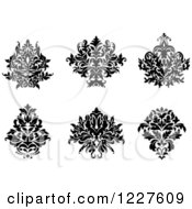 Clipart Of Black And White Floral Damask Designs 9 Royalty Free Vector Illustration