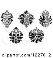 Clipart Of Black And White Floral Damask Designs 8 Royalty Free Vector Illustration