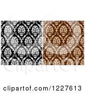 Clipart Of Seamless Patterns Of Damask In Brown And Black And White Royalty Free Vector Illustration