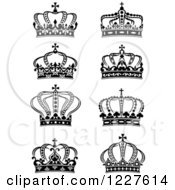 Clipart Of Black And White Crowns 9 Royalty Free Vector Illustration