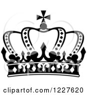 Clipart Of A Black And White Crown 9 Royalty Free Vector Illustration