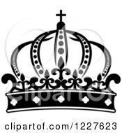Clipart Of A Black And White Crown 6 Royalty Free Vector Illustration