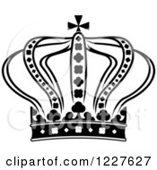 Clipart Of A Black And White Crown 12 Royalty Free Vector Illustration