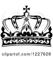 Clipart Of A Black And White Crown 14 Royalty Free Vector Illustration