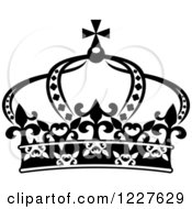 Clipart Of A Black And White Crown 11 Royalty Free Vector Illustration