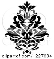 Clipart Of A Black And White Floral Damask Design 38 Royalty Free Vector Illustration