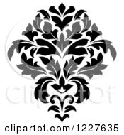 Clipart Of A Black And White Floral Damask Design 40 Royalty Free Vector Illustration