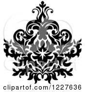 Clipart Of A Black And White Floral Damask Design 37 Royalty Free Vector Illustration