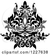 Clipart Of A Black And White Floral Damask Design 35 Royalty Free Vector Illustration