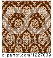 Clipart Of A Brown And Tan Seamless Vintage Damask Pattern 2 Royalty Free Vector Illustration