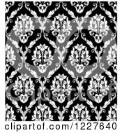 Clipart Of A Seamless Pattern Of Damask In Black And White 4 Royalty Free Vector Illustration