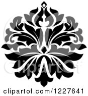 Clipart Of A Black And White Floral Damask Design 34 Royalty Free Vector Illustration
