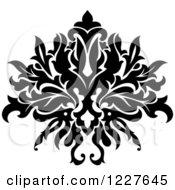 Clipart Of A Black And White Floral Damask Design 39 Royalty Free Vector Illustration
