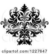 Clipart Of A Black And White Floral Damask Design 36 Royalty Free Vector Illustration