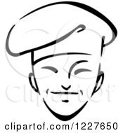 Clipart Of A Black And White Male Asian Chef 2 Royalty Free Vector Illustration