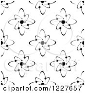 Clipart Of A Black And White Seamless Atom And Molecule Pattern Royalty Free Vector Illustration
