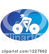 Clipart Of A White Cyclist On A Bike In A Blue Oval Royalty Free Vector Illustration by Vector Tradition SM