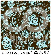 Clipart Of A Seamless Pattern Of Blue Roses On Brown Royalty Free Vector Illustration