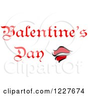 Clipart Of Red Lips And Valentines Day Text Royalty Free Vector Illustration by Vector Tradition SM