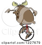 Clipart Of A Moose On A Unicycle Royalty Free Vector Illustration
