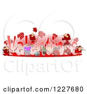Clipart Of Valentines Text With Cupids And People Royalty Free Illustration