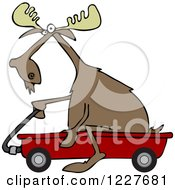 Clipart Of A Moose Riding In A Red Wagon Royalty Free Vector Illustration