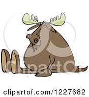 Clipart Of A Moose Sitting With His Legs Out Royalty Free Vector Illustration