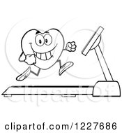Clipart Of An Outlined Heart Character Running On A Treadmill Royalty Free Vector Illustration