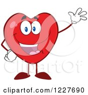 Clipart Of A Heart Character Waving Royalty Free Vector Illustration by Hit Toon