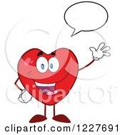 Clipart Of A Talking Heart Character Waving Royalty Free Vector Illustration