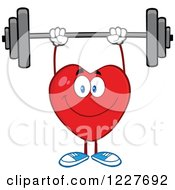 Clipart Of A Heart Character Working Out With A Barbell Royalty Free Vector Illustration