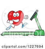 Clipart Of A Heart Character Running On A Treadmill Royalty Free Vector Illustration