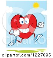 Clipart Of A Heart Character Running On A Sunny Day Royalty Free Vector Illustration by Hit Toon