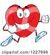 Clipart Of A Heart Character Running Royalty Free Vector Illustration by Hit Toon