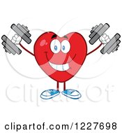 Clipart Of A Heart Character Working Out With Dumbbells Royalty Free Vector Illustration by Hit Toon