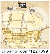 Clipart Of A Pirate Ship With Distressed Sepia Royalty Free Vector Illustration by Hit Toon