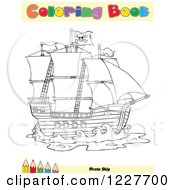 Clipart Of A Pirate Ship Coloring Book Page Royalty Free Vector Illustration by Hit Toon