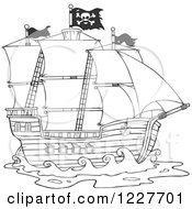 Clipart Of A Black And White Pirate Ship Royalty Free Vector Illustration by Hit Toon