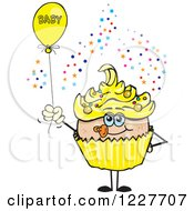 Clipart Of A Yellow Cupcake With A Baby Balloon Royalty Free Vector Illustration