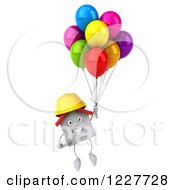 Clipart Of A 3d White Construction Worker House With Balloons 3 Royalty Free Illustration