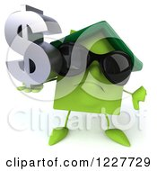 Clipart Of A 3d Green Home With A Thumb Down And Dollar Symbol Royalty Free Illustration