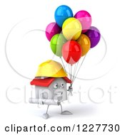 Clipart Of A 3d White Construction Worker House With Balloons 2 Royalty Free Illustration