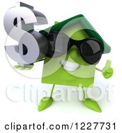 Clipart Of A 3d Happy Green Home With A Thumb Up And Dollar Symbol Royalty Free Illustration