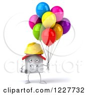 Clipart Of A 3d White Construction Worker House With Balloons Royalty Free Illustration