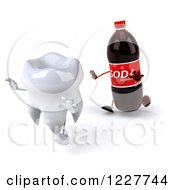 Clipart Of A 3d Tooth Running From A Soda Bottle 2 Royalty Free Illustration