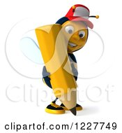 Clipart Of A 3d Bee Wearing A Baseball Cap And Writing Royalty Free Illustration