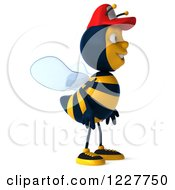 Clipart Of A 3d Bee Wearing A Baseball Cap And Facing Right Royalty Free Illustration