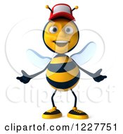 Clipart Of A 3d Friendly Bee Wearing A Baseball Cap Royalty Free Illustration